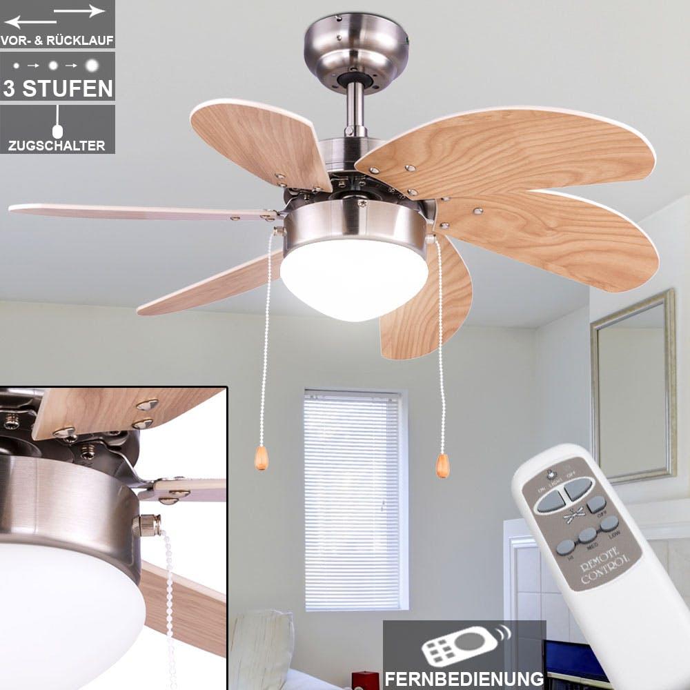 LED Decken Ventilator Kühler Zugschalter RETRO Leuchte Lüfter Küchen Glas Lampe