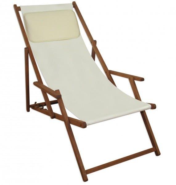 Deckchair Weiss Liegestuhl Klappbare Sonnenliege Gartenliege Holz Strandstuhl Gartenmobel 10 303kh Metro Marktplatz