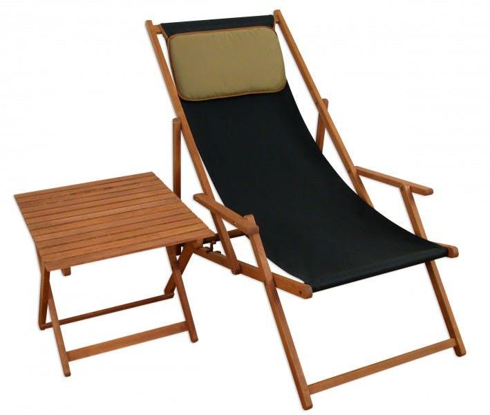 Deckchair Schwarz Gartenliege Sonnenliege Strandstuhl Tisch Kissen Buche Klappbar 10 305 T Kd Metro Marktplatz