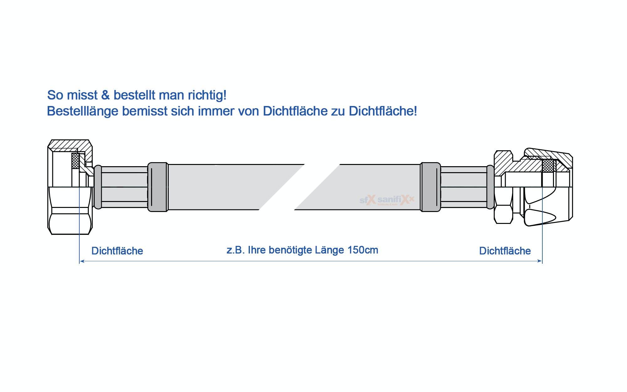 Panzerschlauch Edelstahl DN8-3//8 Zoll ÜM x 10mm Quetschverschraubung