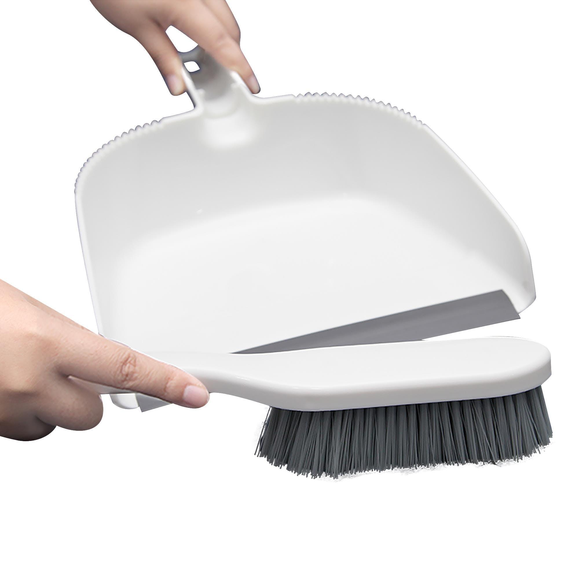 Handfeger und Kehrblech Kunststoff 2-teiliges Kehr-Set grau