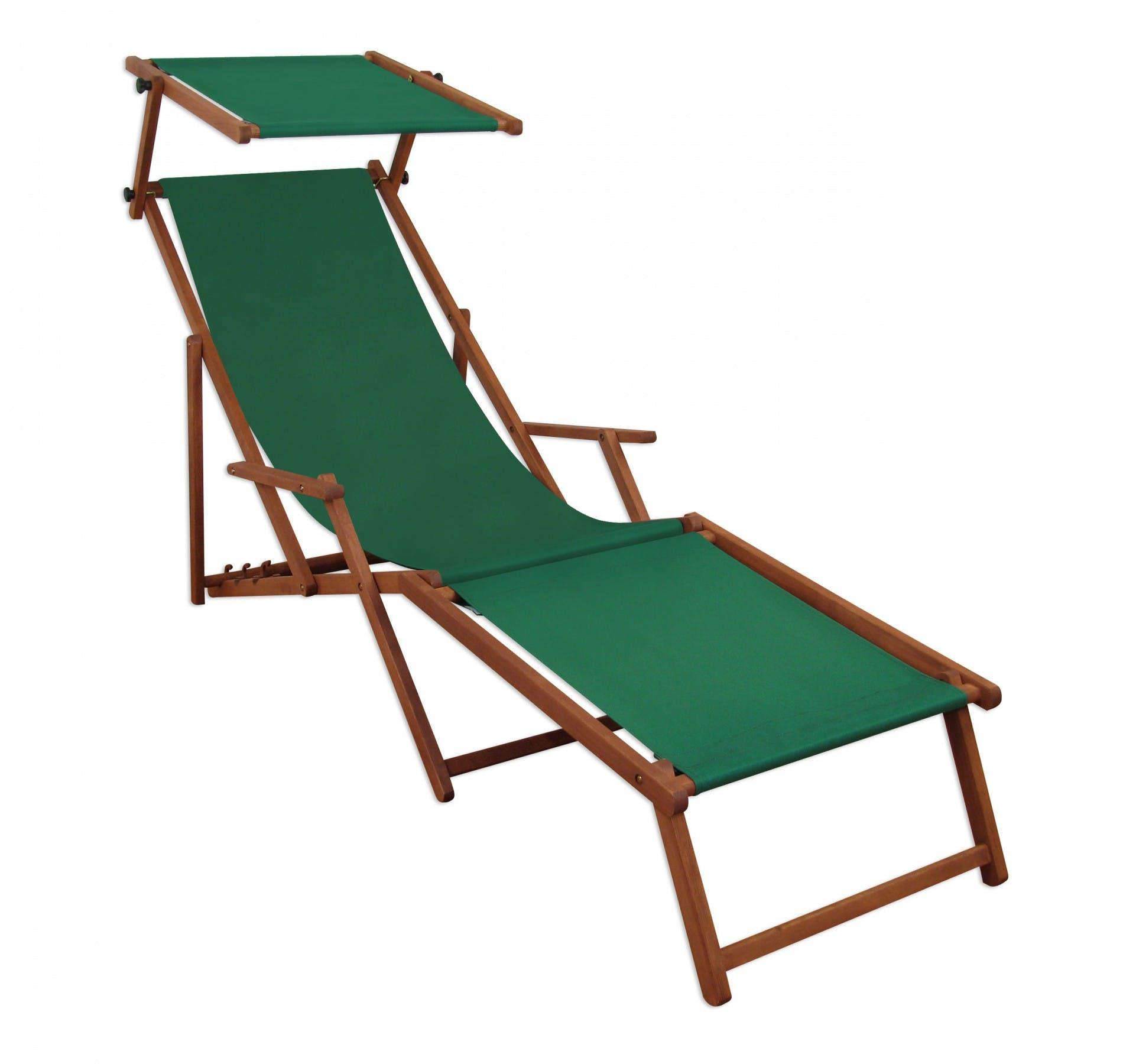 Liegestuhl Sonnenliege Grun Fussablage Sonnendach Gartenliege Holz Deckchair Gartenmobel 10 304fs Metro Marktplatz