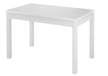 Zweifarbiger Küchentisch 80x120 Esstisch Massivholz Platte Eiche gebeizt Gestell weiß 90.70 51BE