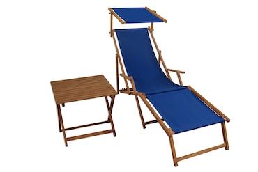 Relaxliege Blau Gartenliege Strandliege Fussteil Sonnendach Tisch Buche Klappbar 10 307 F S T Metro Marktplatz