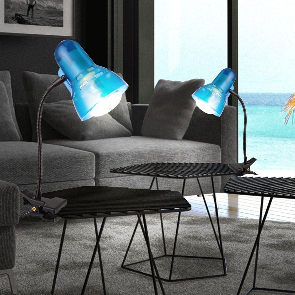 RGB LED Lese Lampe Tisch Klemm Strahler Fernbedienung Wohn Zimmer Flexo dimmbar
