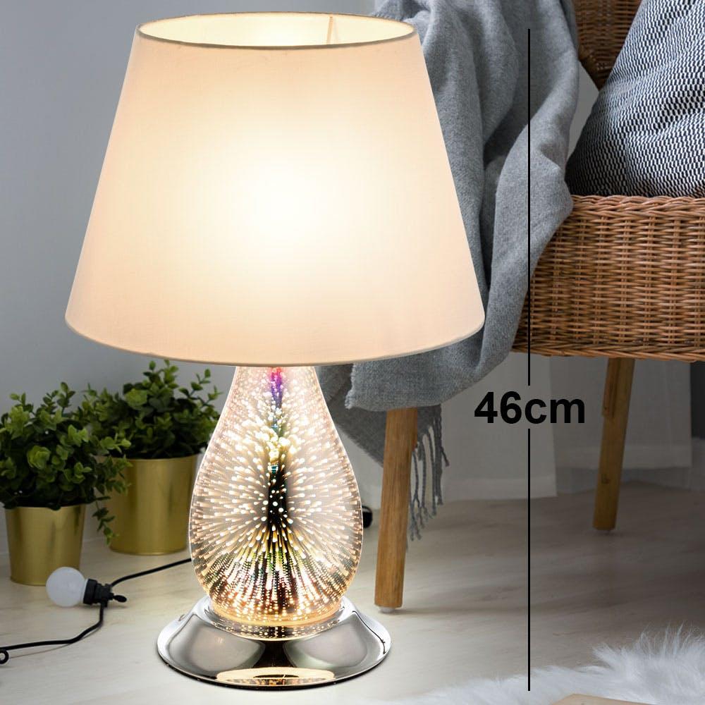 LED Nacht Schreib Tisch Leuchte Chrom Strahler grau Textil Design Lese Lampe