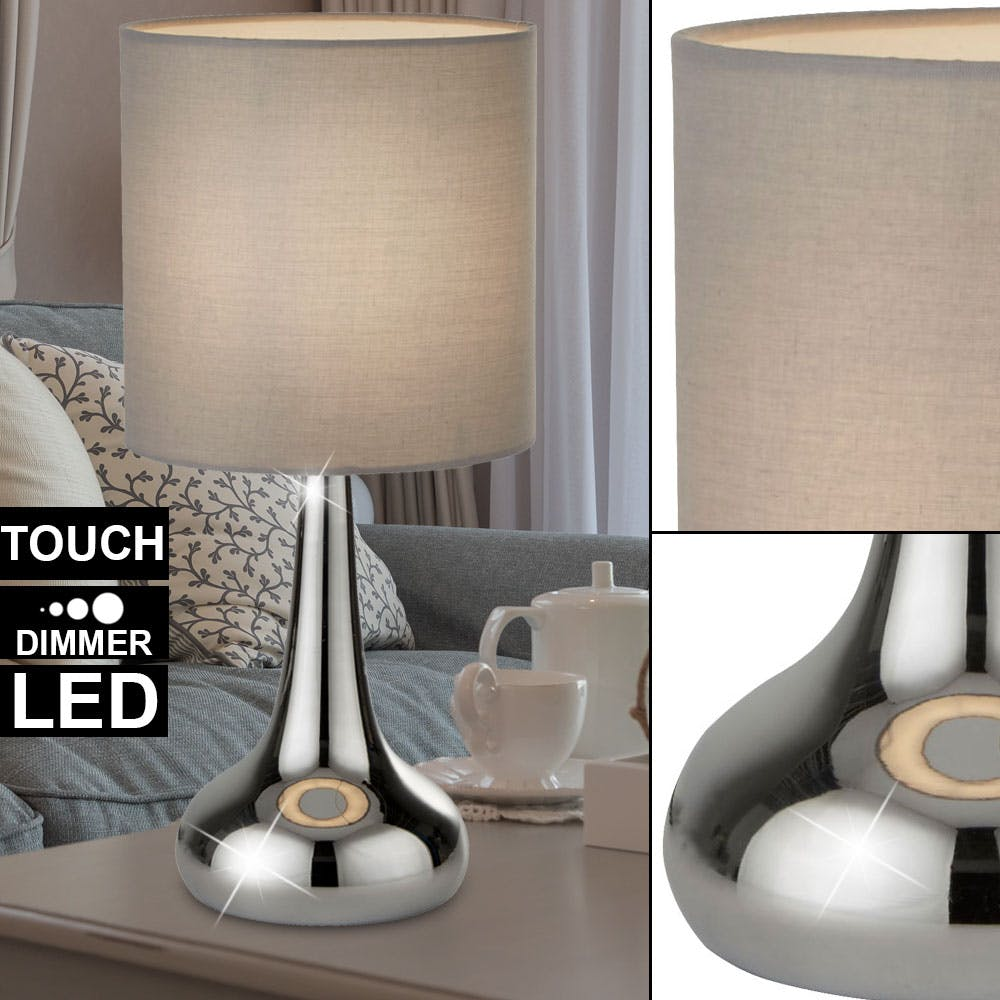 LED Nacht Tisch Design Lampe Textil Leuchte Touch Dimmer Filament Strahler grau