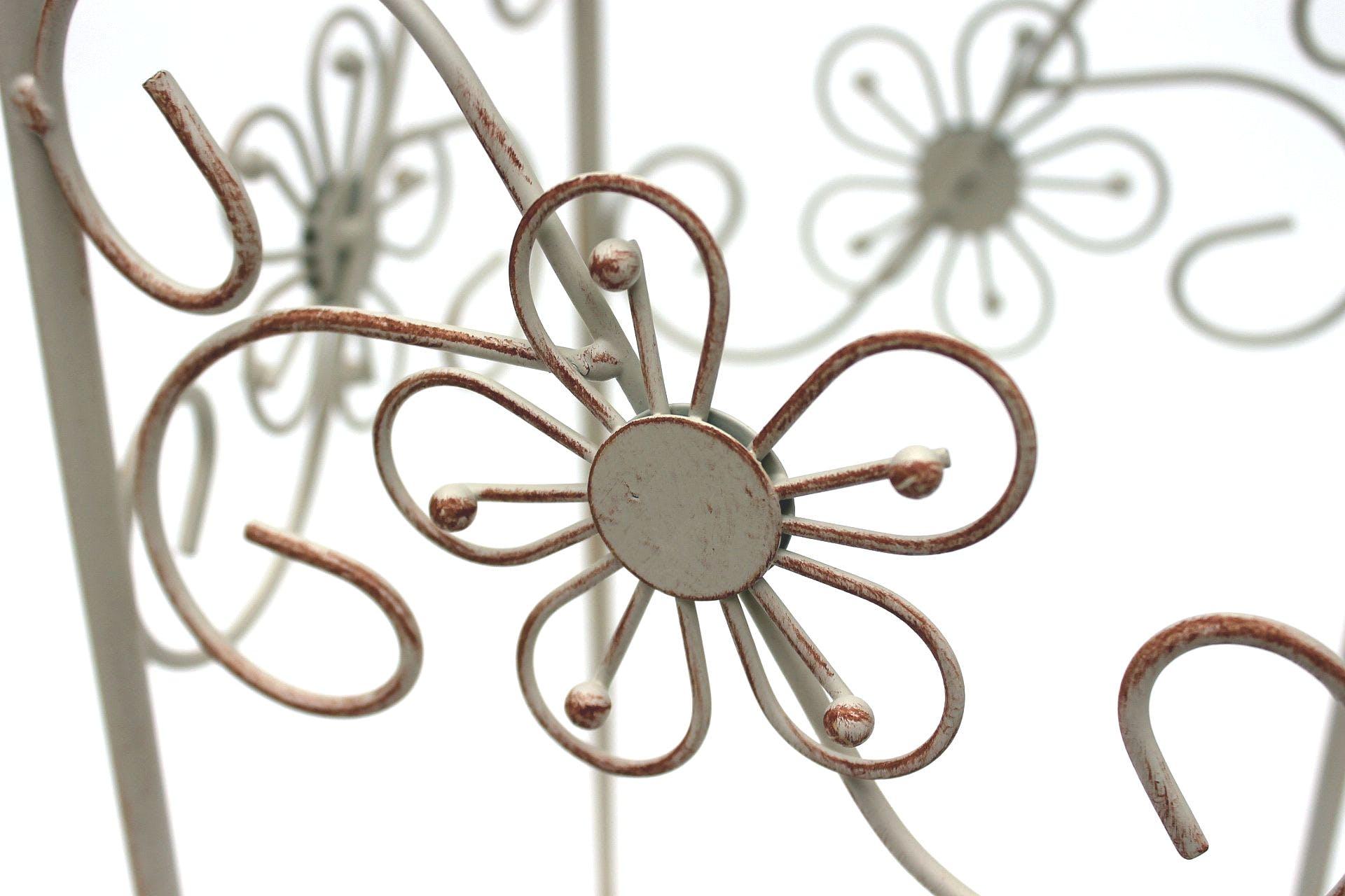 Blumenhocker Metall Eckig Weiß 3er Set Blumenständer 20348 Beistelltisch Deko
