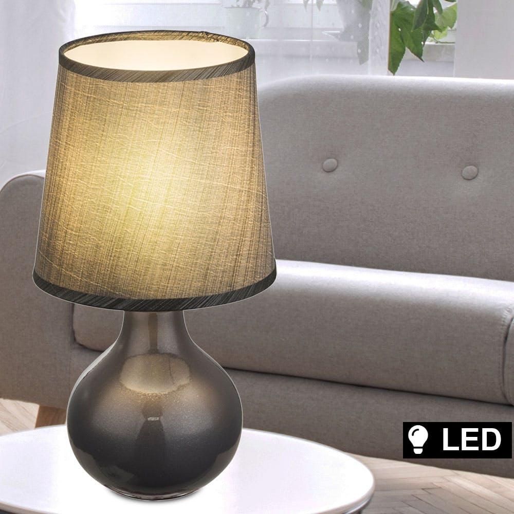 LED Tisch Leuchte Design Beleuchtung Nacht Licht Textil Lampe Gäste Zimmer grau